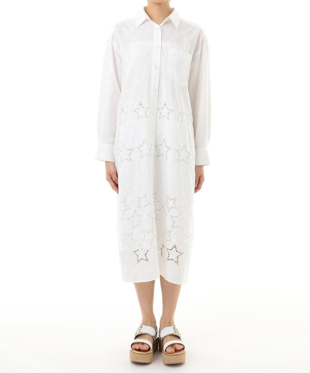 GRACE CONTINENTAL スター刺繍シャツワンピース ホワイト