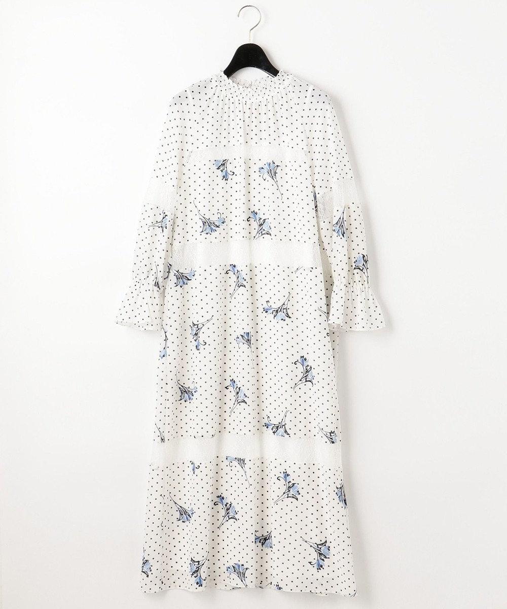 GRACE CONTINENTAL ドットプリントフラワー刺繍ワンピース ホワイト