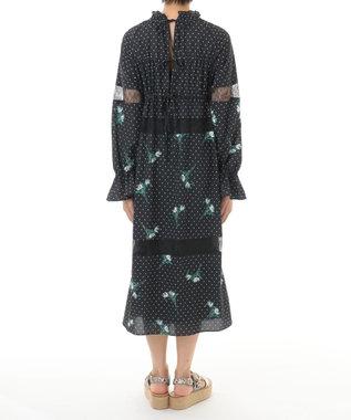 GRACE CONTINENTAL ドットプリントフラワー刺繍ワンピース ブラック