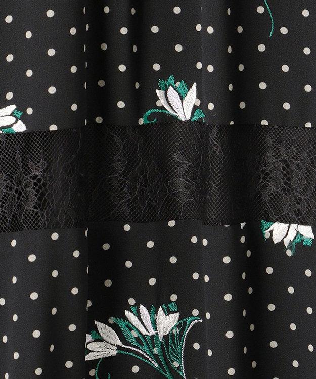 GRACE CONTINENTAL ドットプリントフラワー刺繍ワンピース