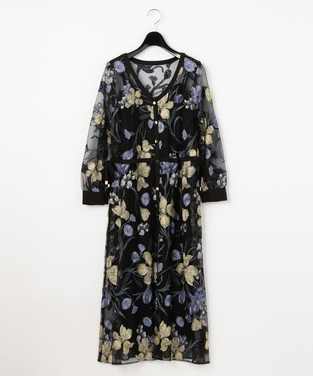 チュールフラワー刺繍ドレス