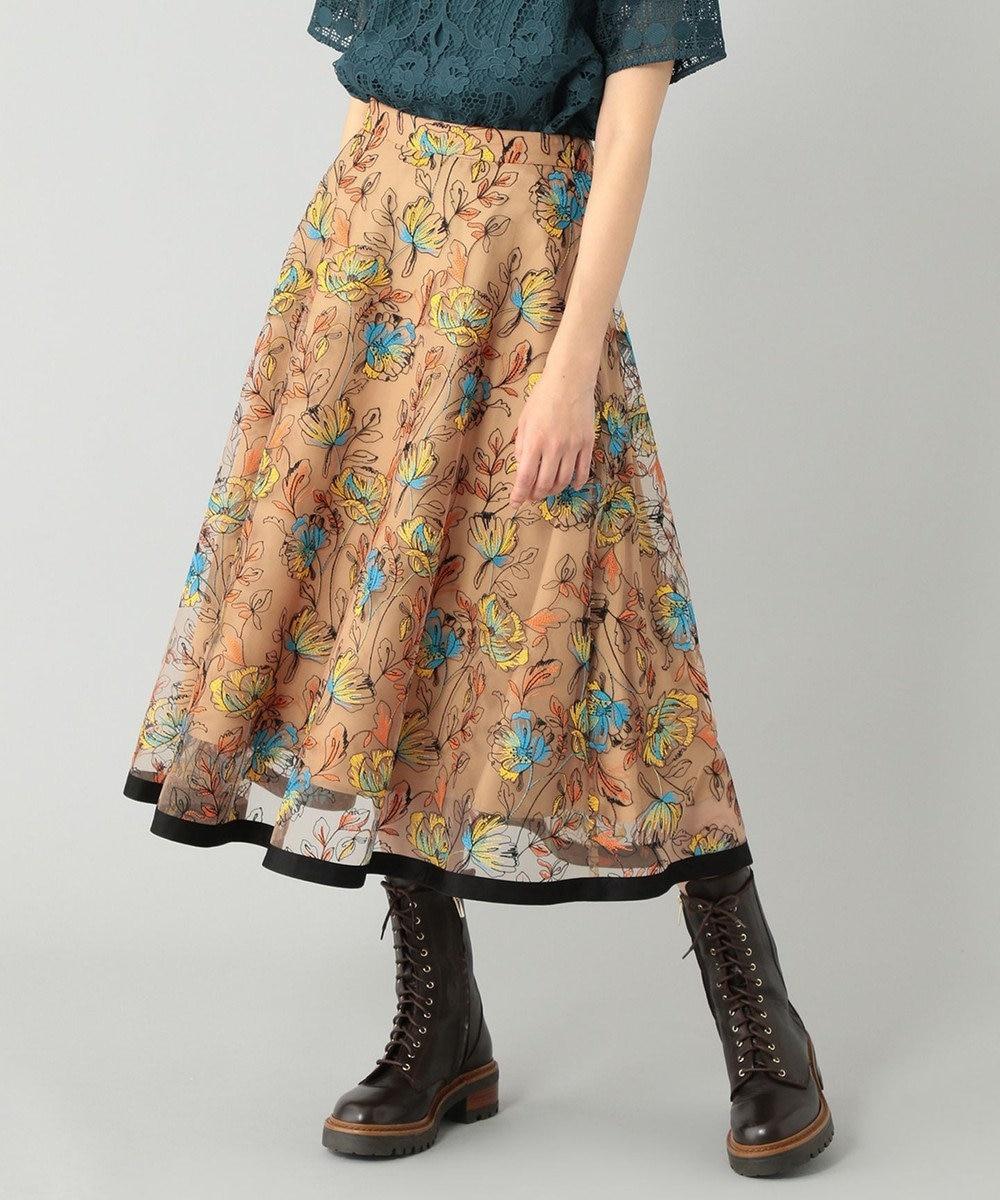 GRACE CONTINENTAL フラワーチュールフレアスカート キャメル