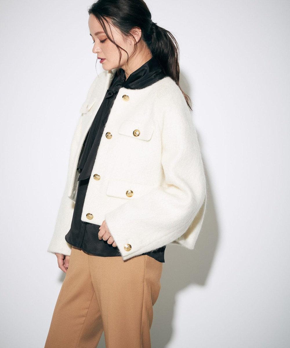 GRACE CONTINENTAL モヘヤシャギーショートジャケット キナリ