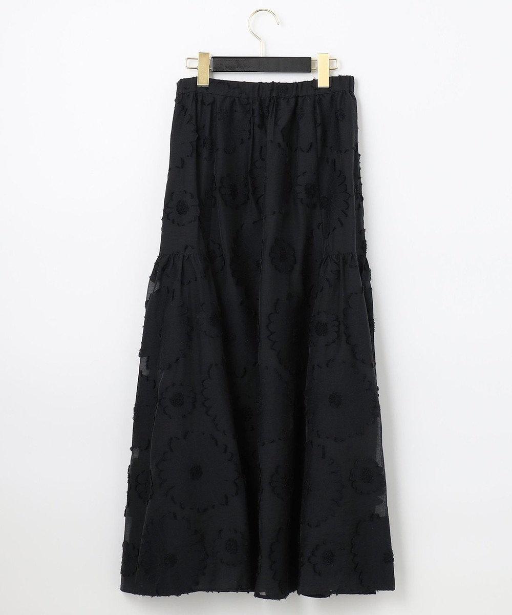 GRACE CONTINENTAL フラワーJQティアードスカート ブラック