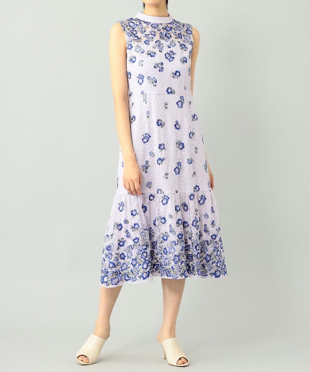 GRACE CONTINENTAL フラワー刺繍レースドレス ラベンダー