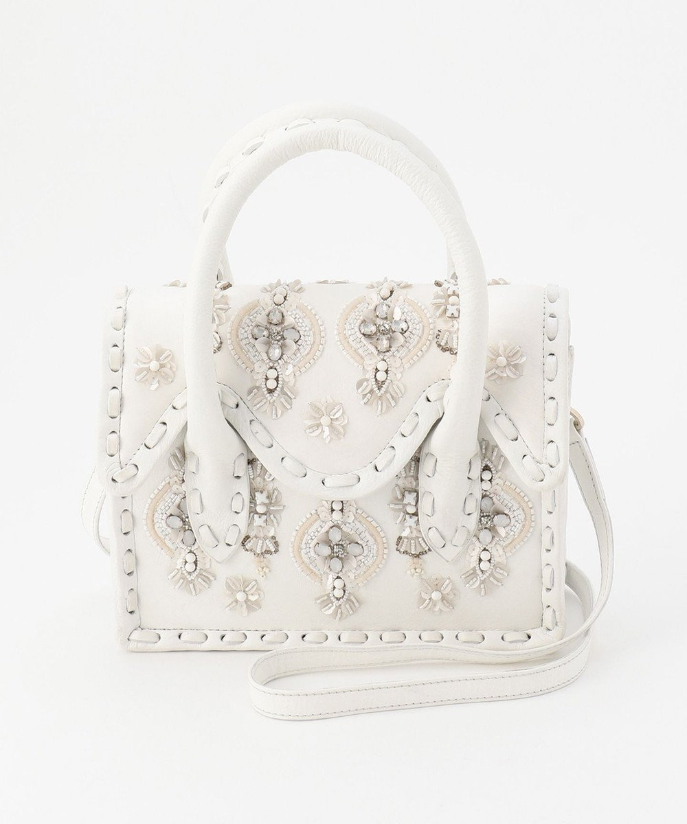 GRACE CONTINENTAL mini MS マルチ刺繍バッグ ホワイト