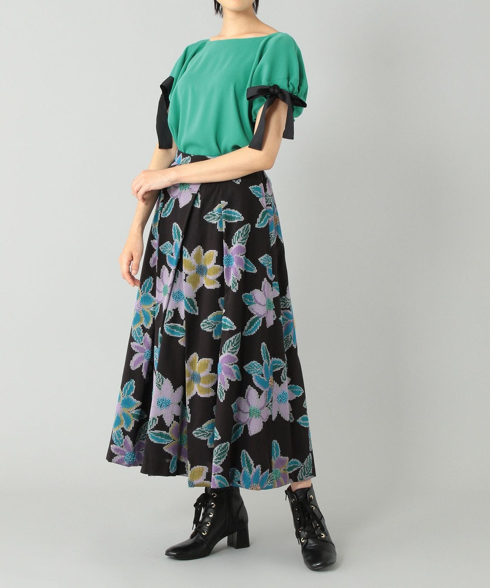 GRACE CONTINENTAL ボートネックトップ グリーン