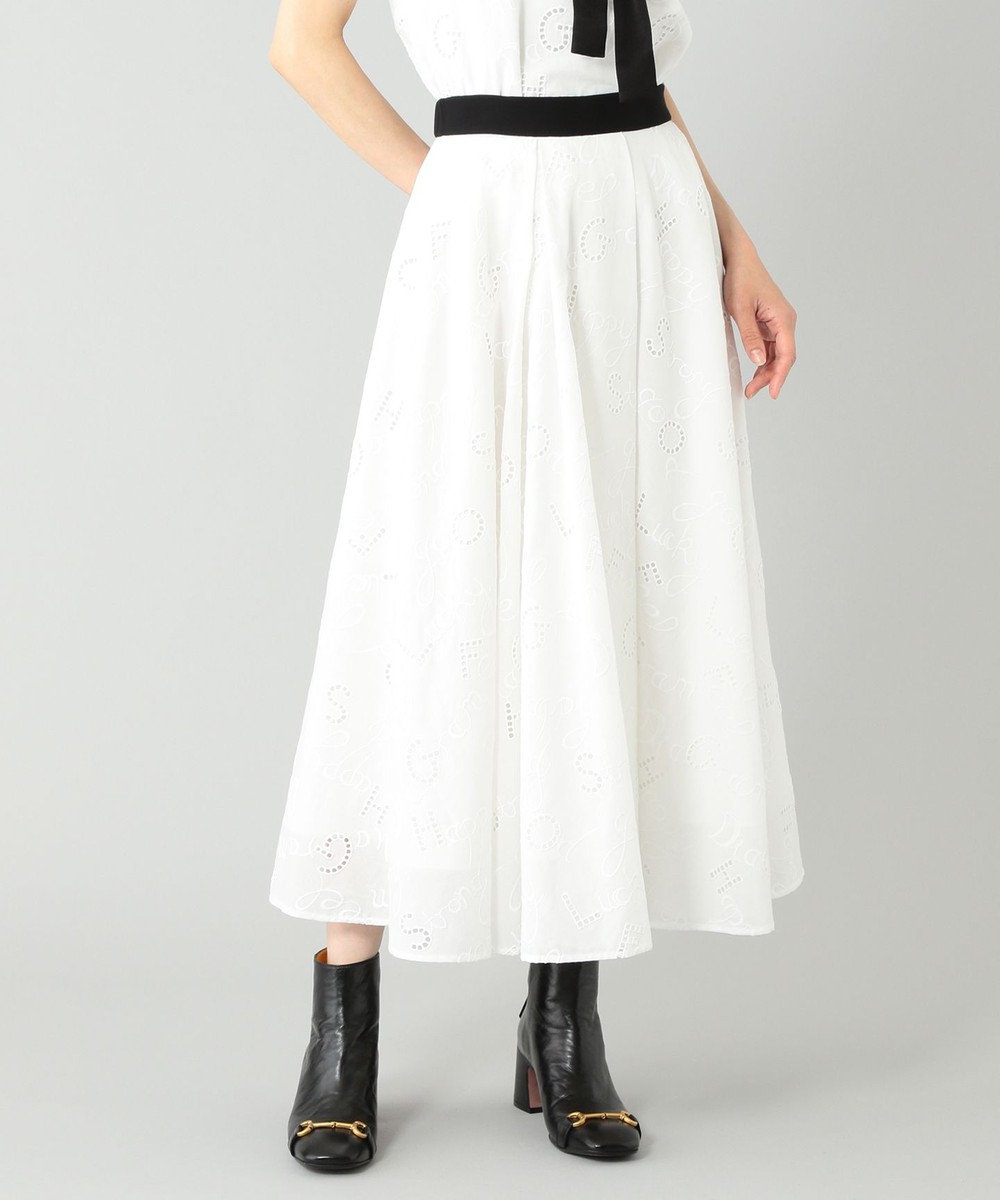 GRACE CONTINENTAL レタード刺繍フレアスカート ホワイト