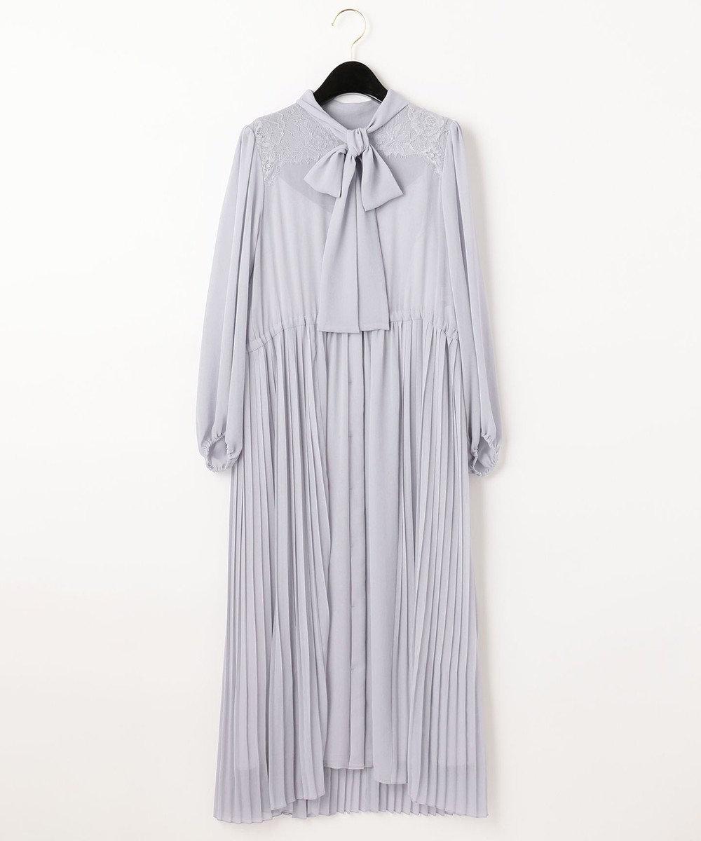 GRACE CONTINENTAL ボウタイプリーツドレス ブルー
