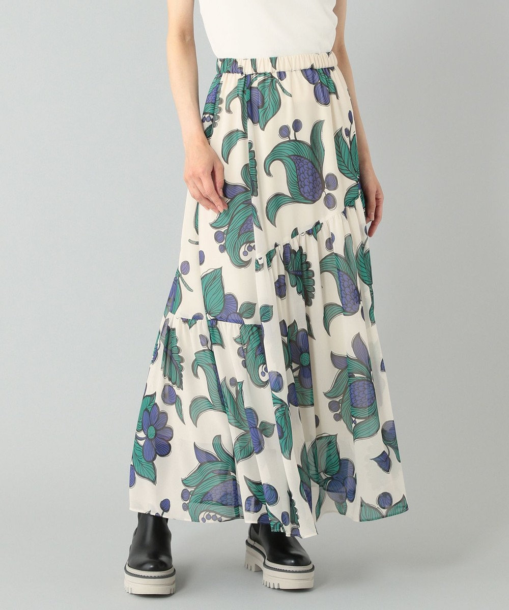 GRACE CONTINENTAL フラワーモチーフプリントスカート キナリ