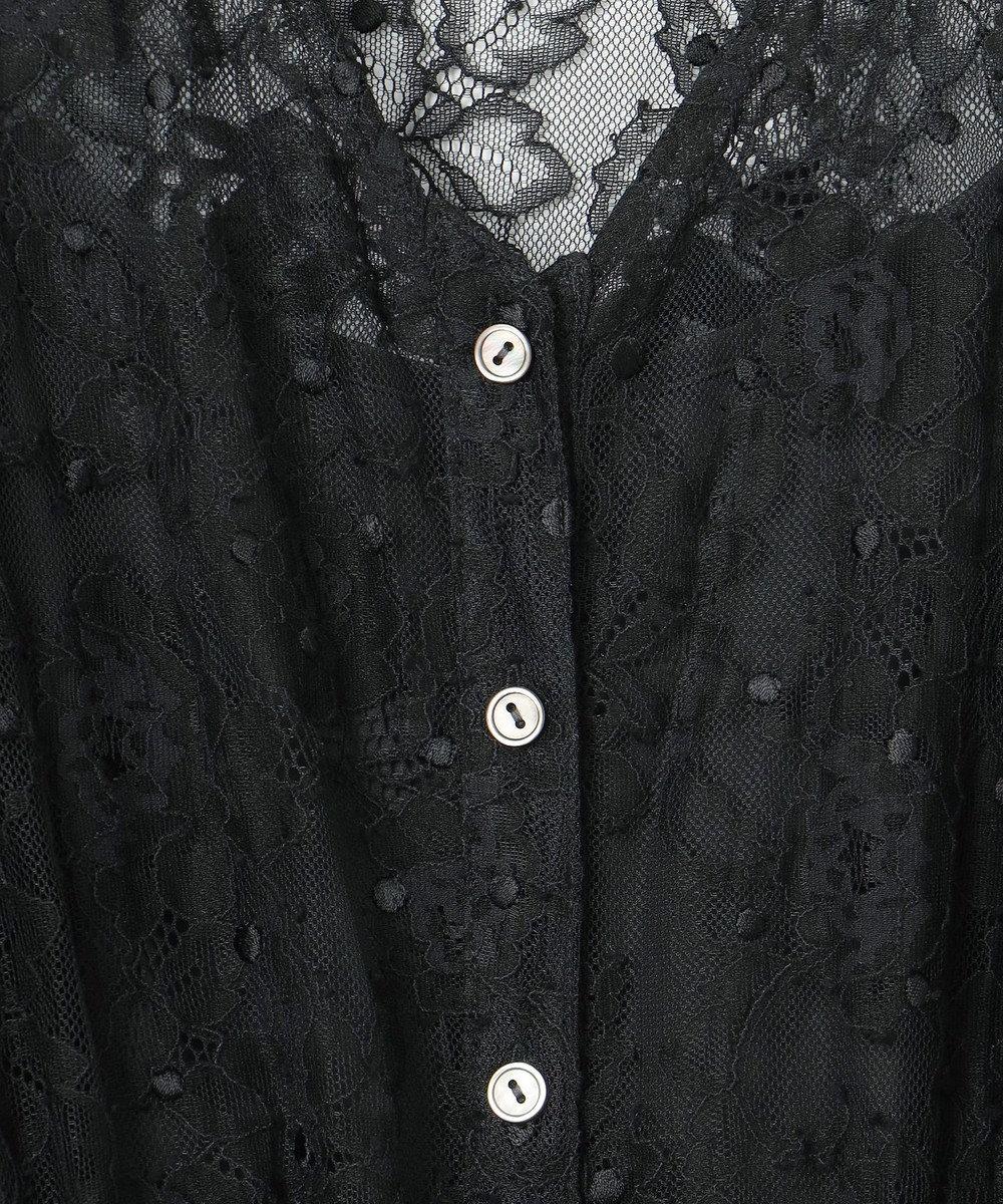 GRACE CONTINENTAL レース刺繍ガウンワンピース ブラック
