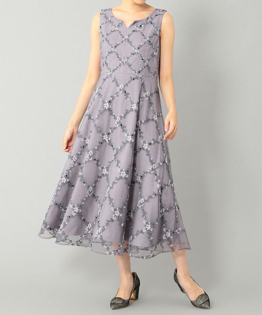 GRACE CONTINENTAL チェックフラワー刺繍ドレス グレー