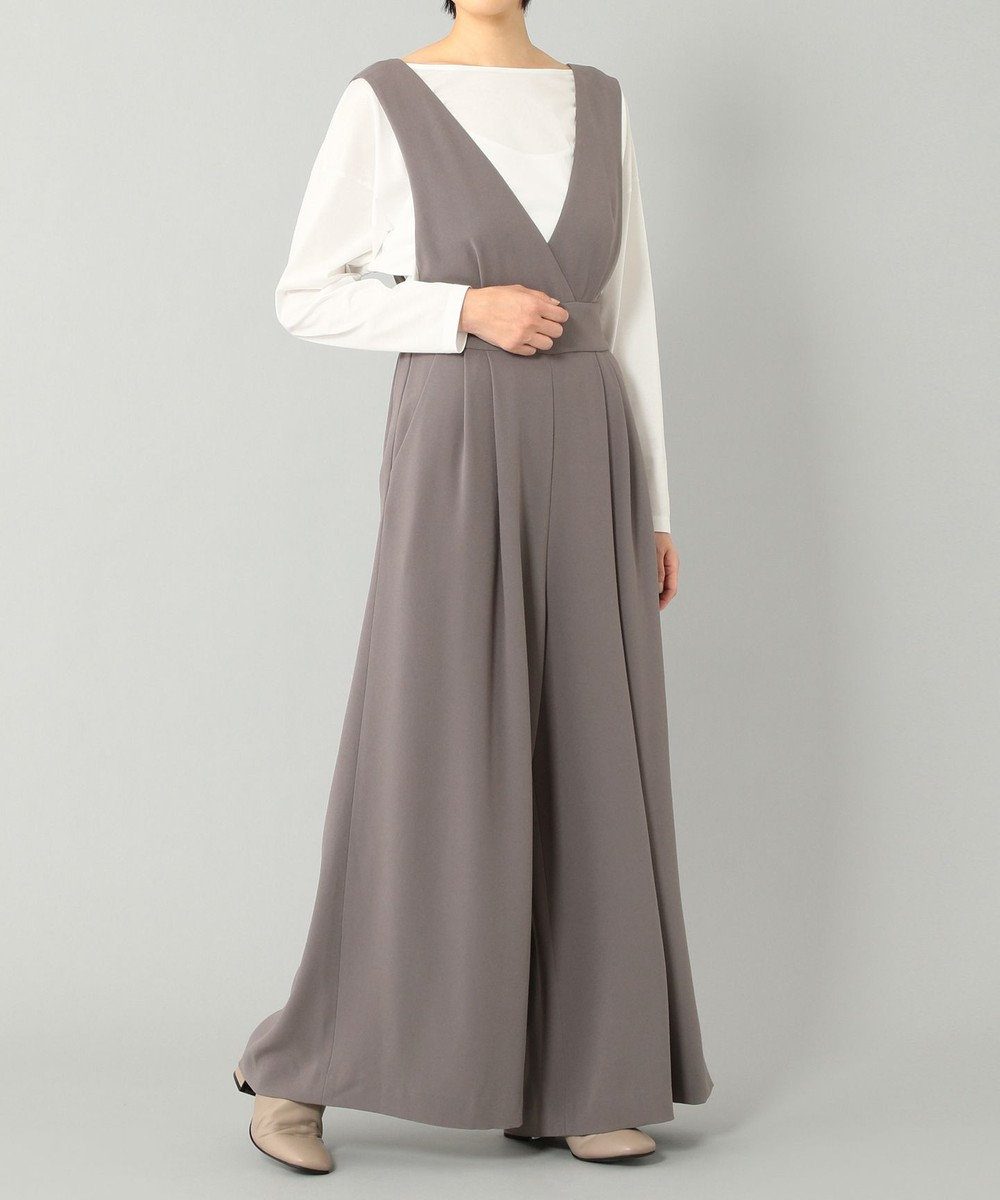 GRACE CONTINENTAL バックリボンサロペット グレー