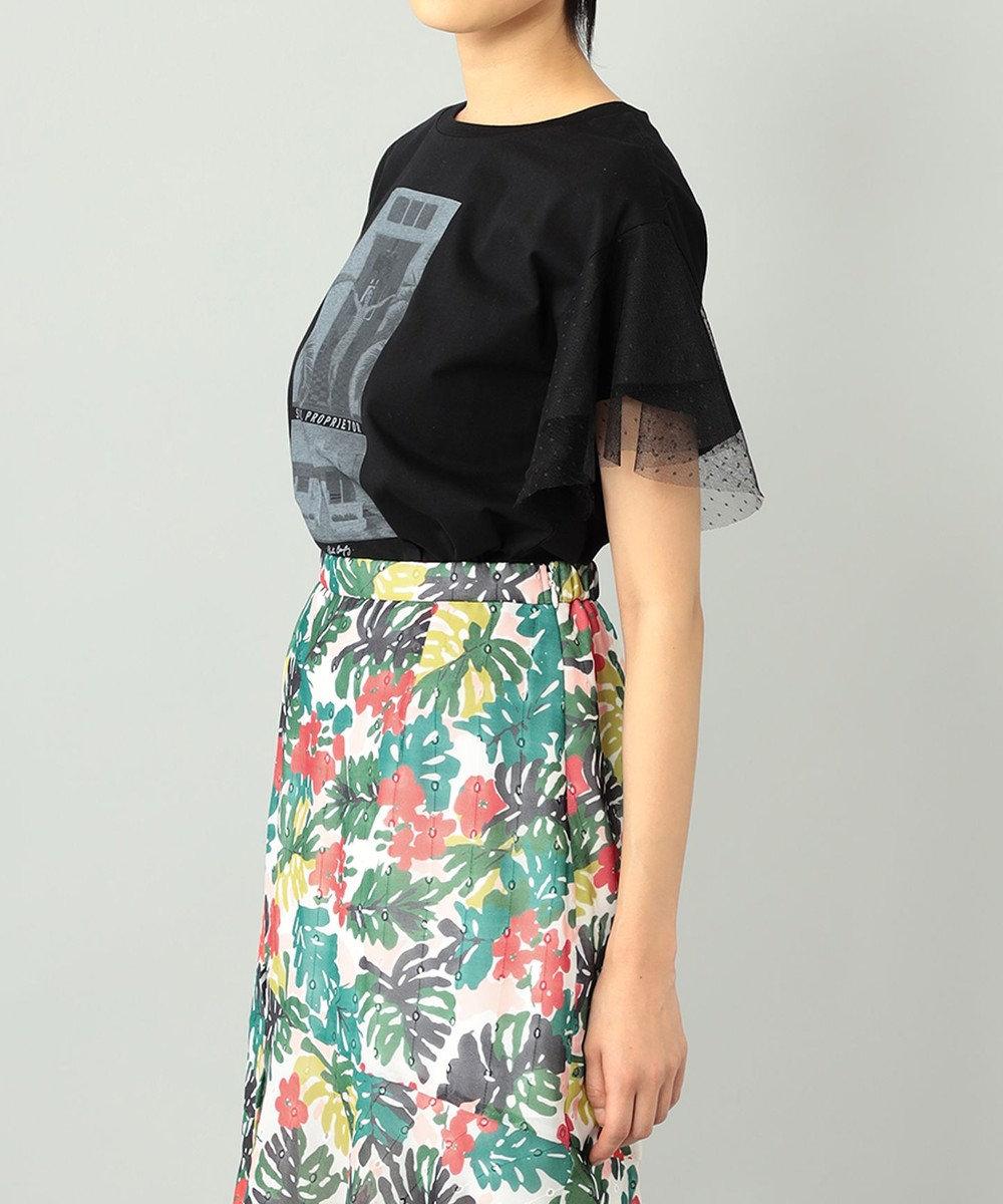 GRACE CONTINENTAL チュールフォトTシャツ ブラック