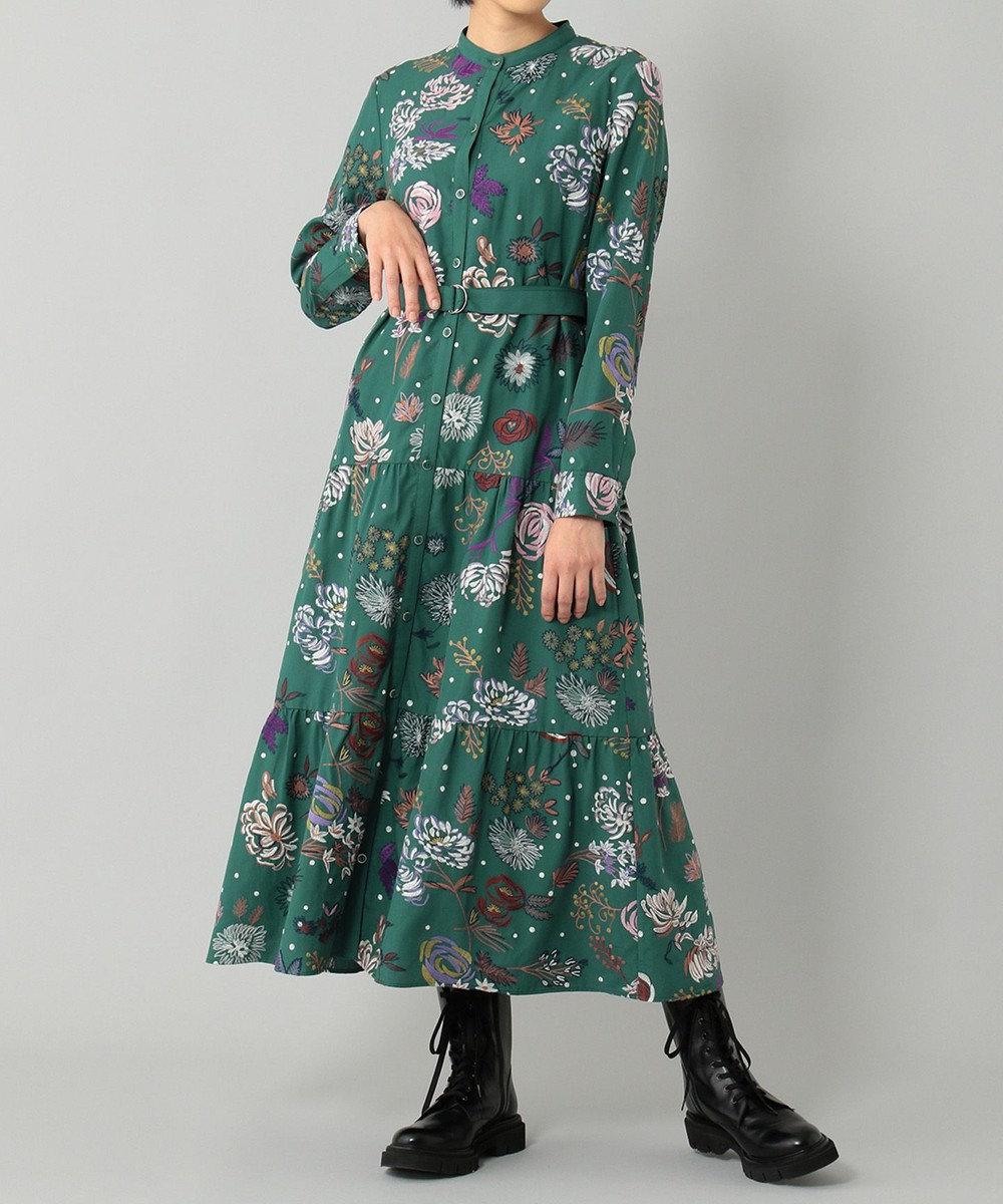 GRACE CONTINENTAL フローラル刺繍シャツワンピース グリーン