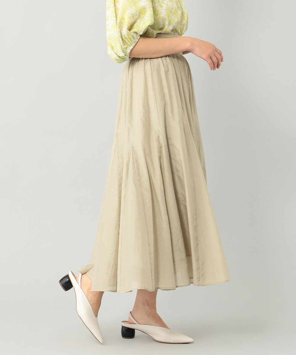 GRACE CONTINENTAL シルク綿フレアスカート ベージュ