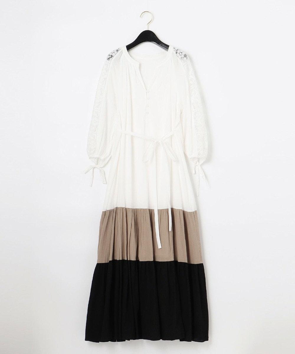 GRACE CONTINENTAL 配色ティアードカフタンワンピース ホワイト