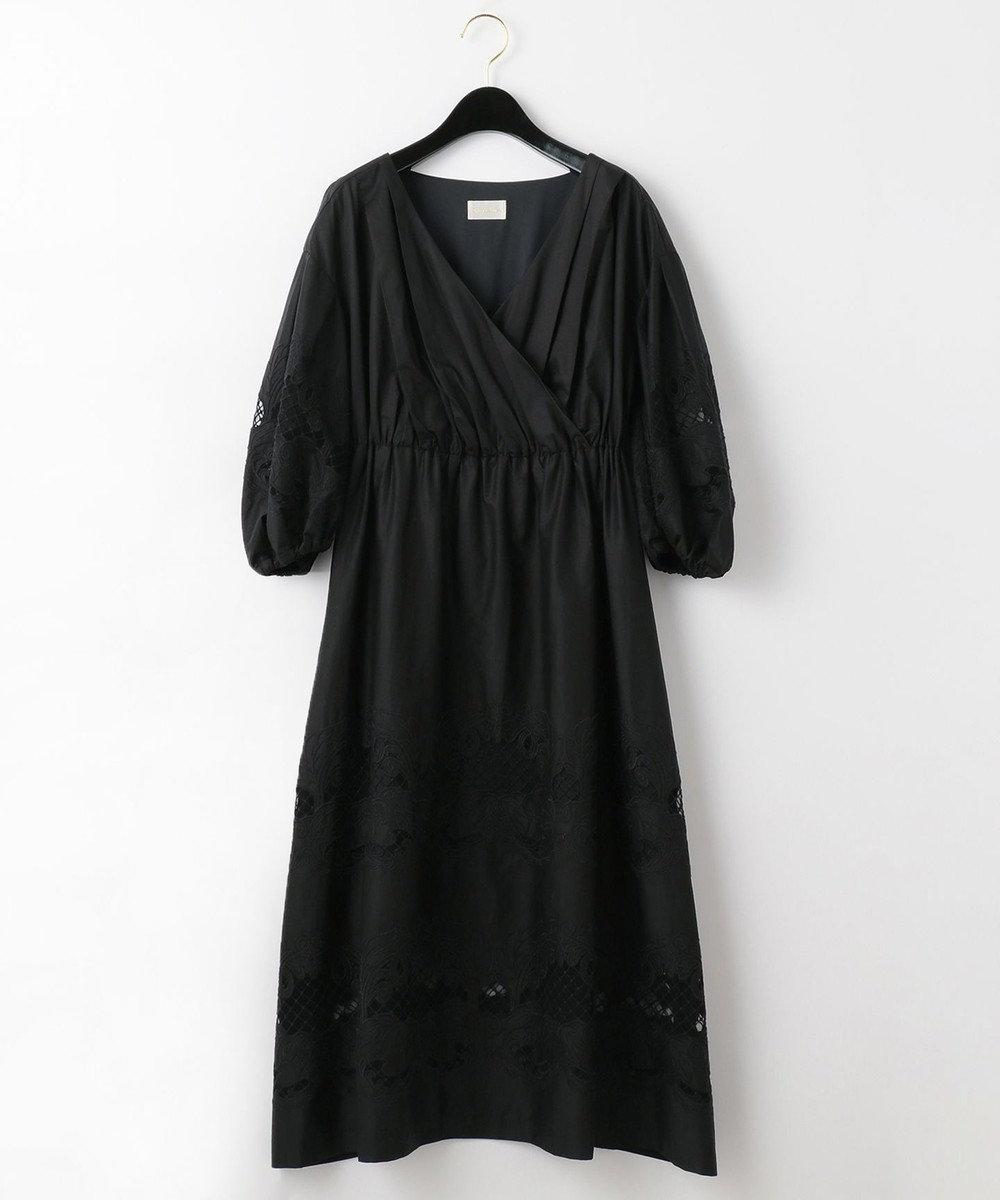 GRACE CONTINENTAL ダマスク刺繍ワンピース ブラック