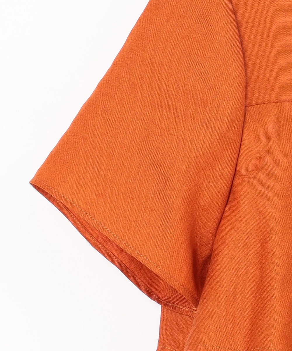 GRACE CONTINENTAL リネンタッチフリルトップ オレンジ