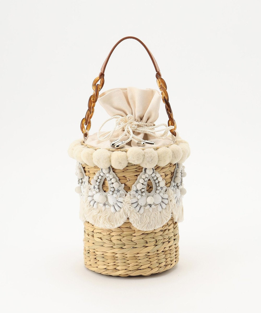 GRACE CONTINENTAL 刺繍バスケットバッグ キナリ