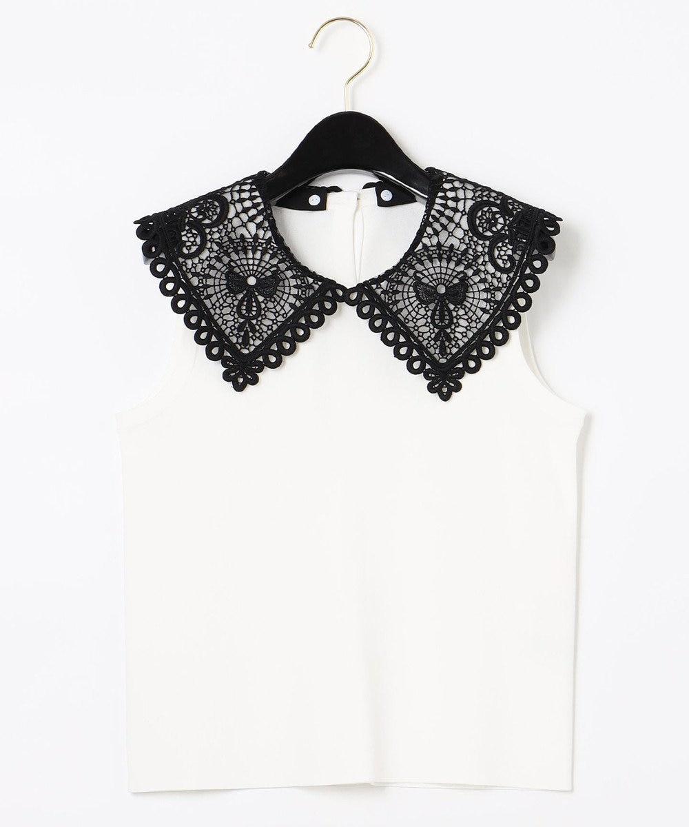 GRACE CONTINENTAL 刺繍衿ニットノースリーブトップ ホワイト