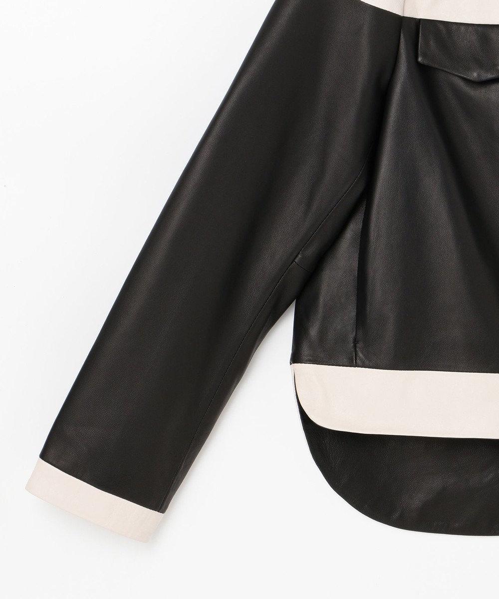 GRACE CONTINENTAL バイカラーレザージャケット ブラック