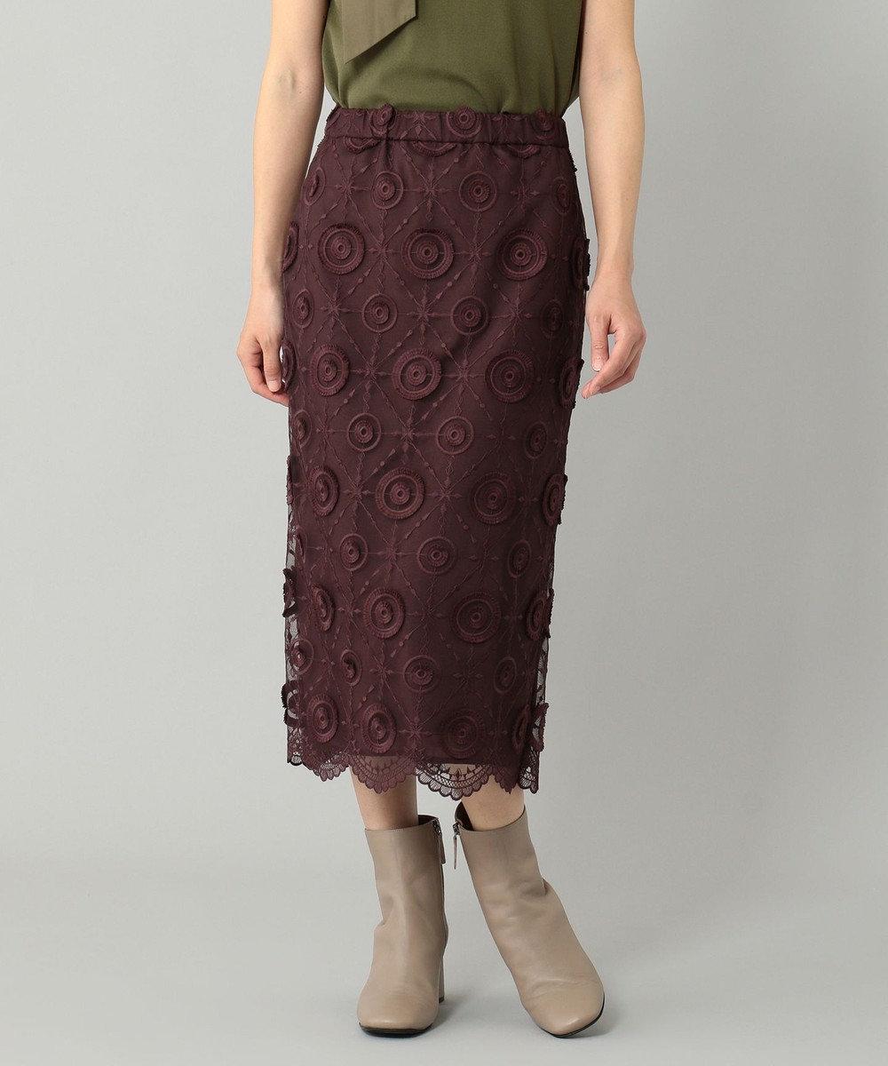 GRACE CONTINENTAL チュール刺繍タイトスカート ボルドー