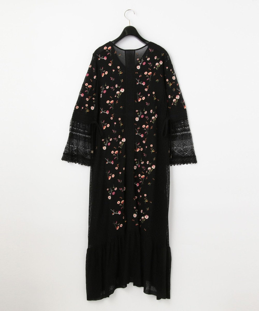 GRACE CONTINENTAL 小花刺繍ニットワンピース ブラック