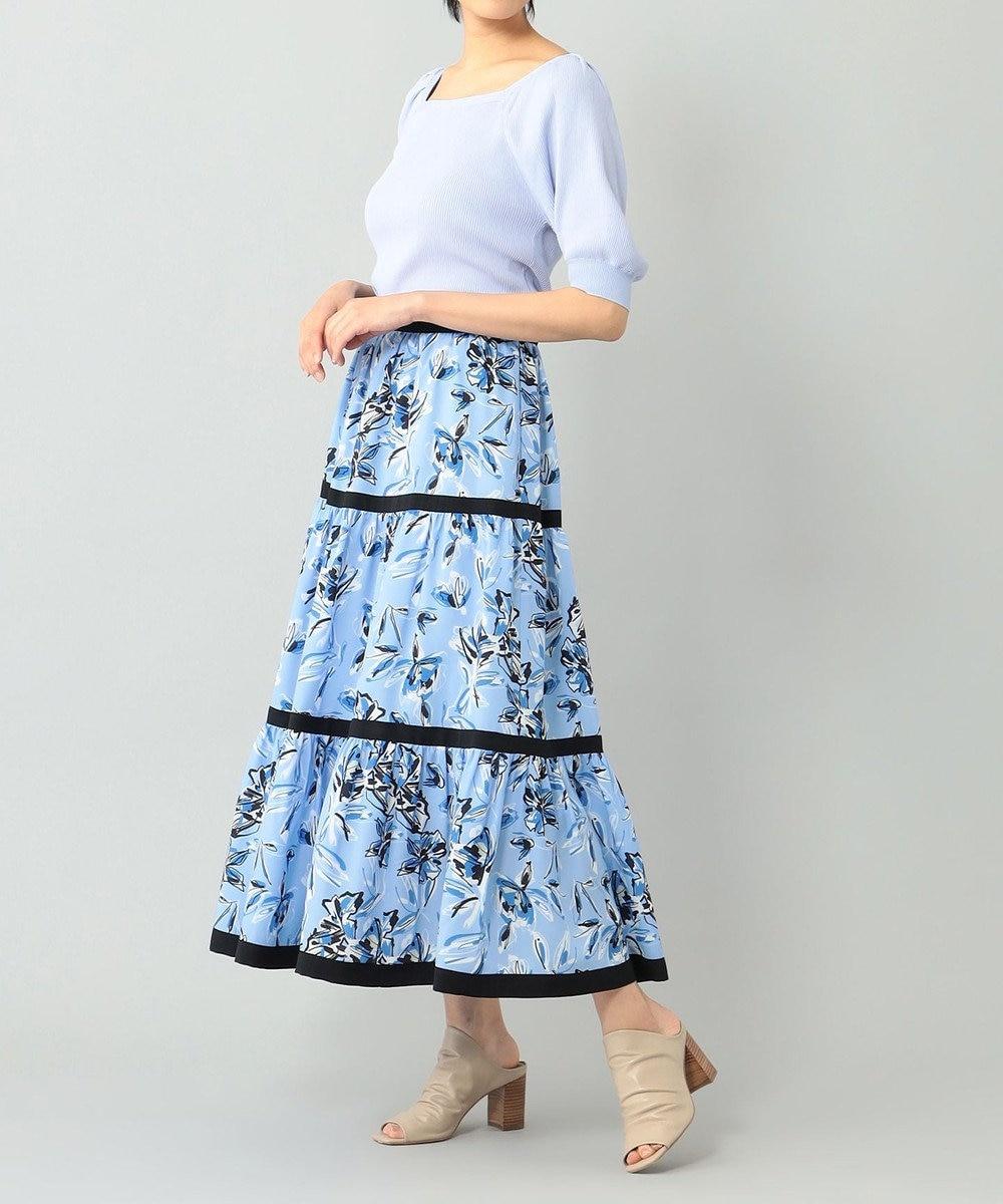 GRACE CONTINENTAL フラワープリントスカート ブルー
