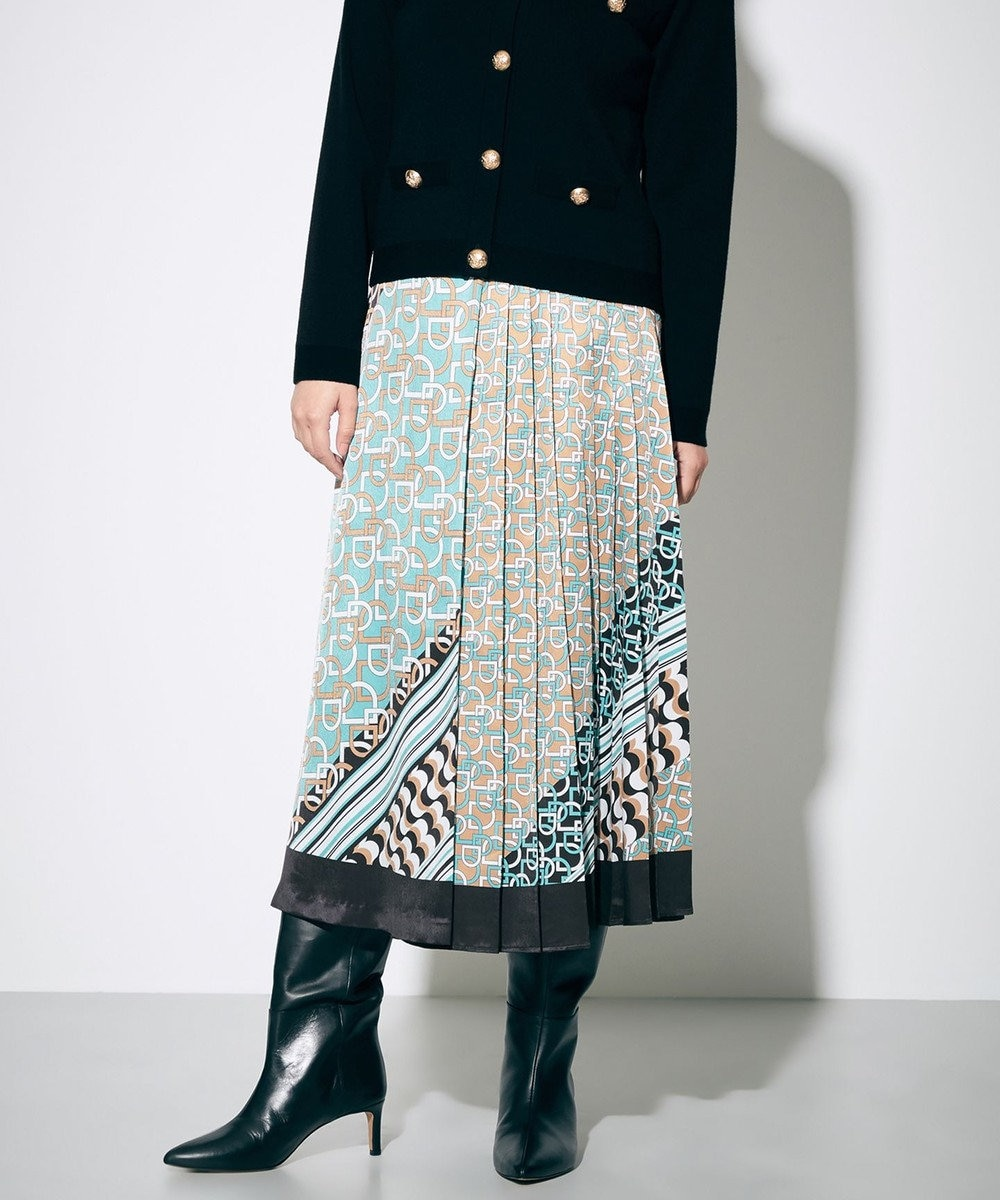GRACE CONTINENTAL モノグラムプリントプリーツスカート ミント