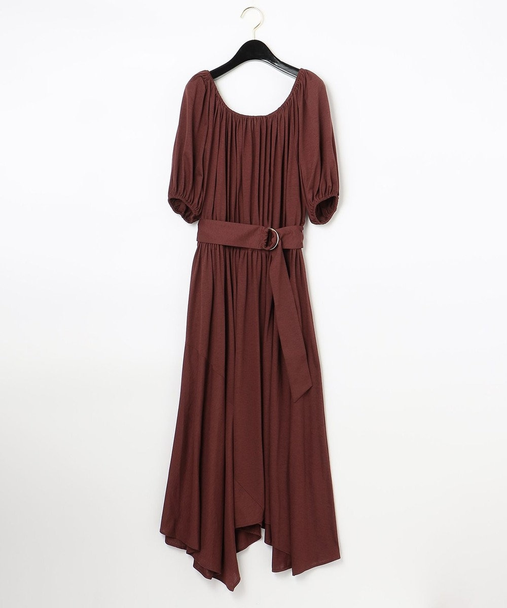 GRACE CONTINENTAL 【LIFE STYLE WEAR】ベルト付カットソーワンピース ボルドー