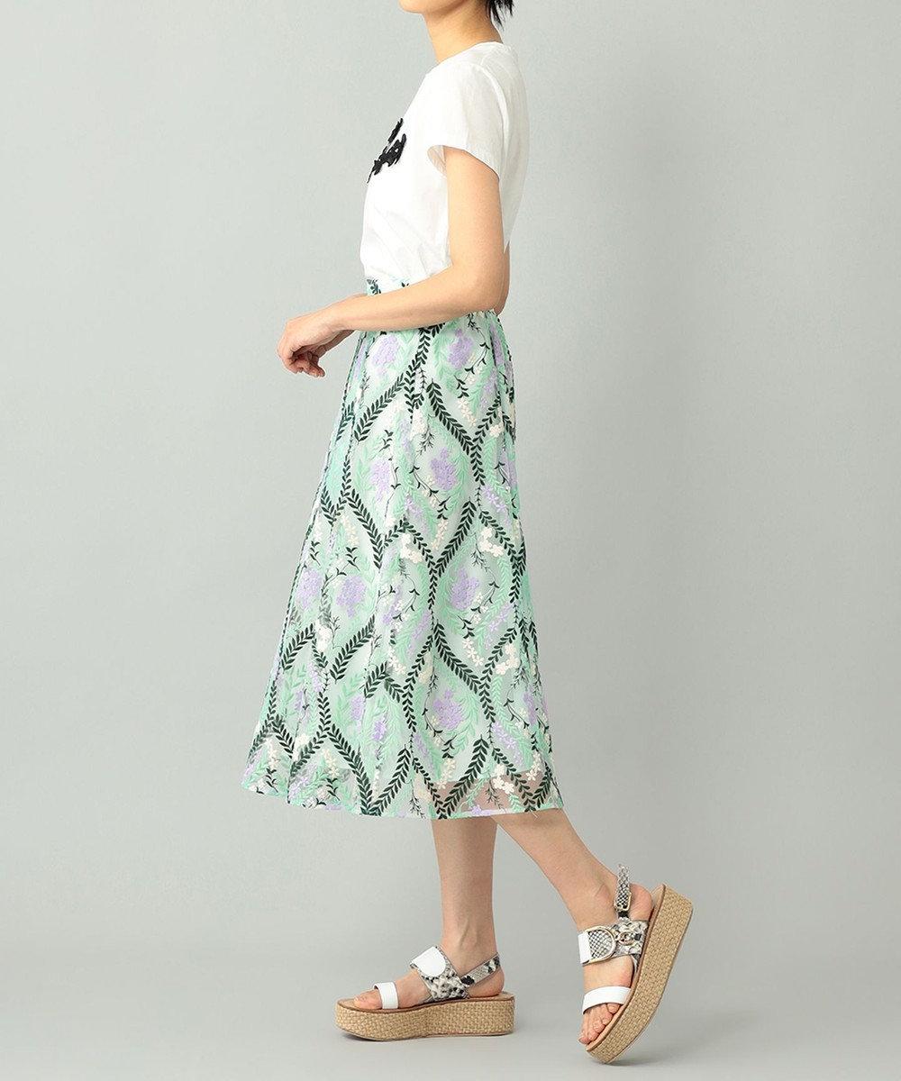 GRACE CONTINENTAL リーフフラワー刺繍スカート グリーン