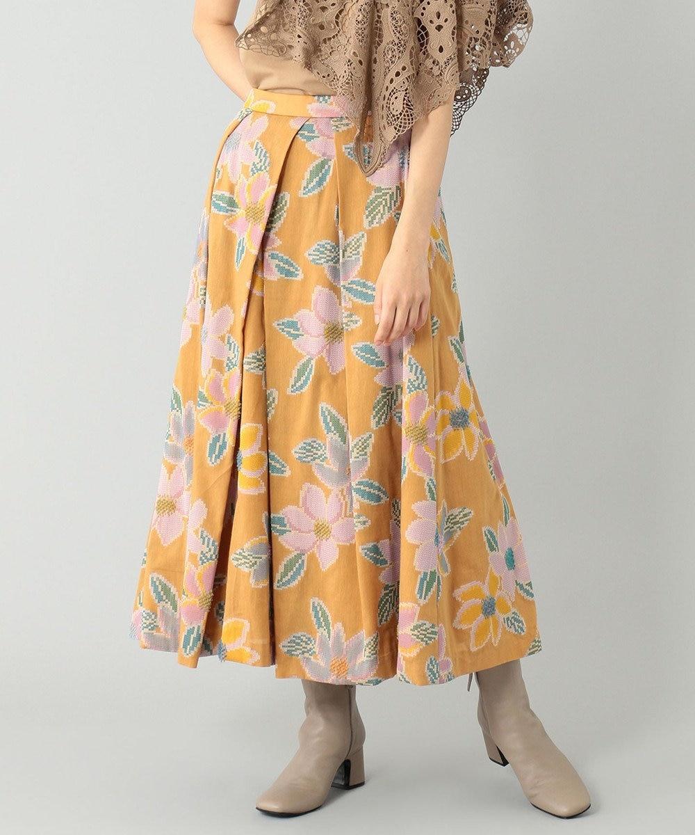 GRACE CONTINENTAL モザイクジャガードタックスカート オレンジ