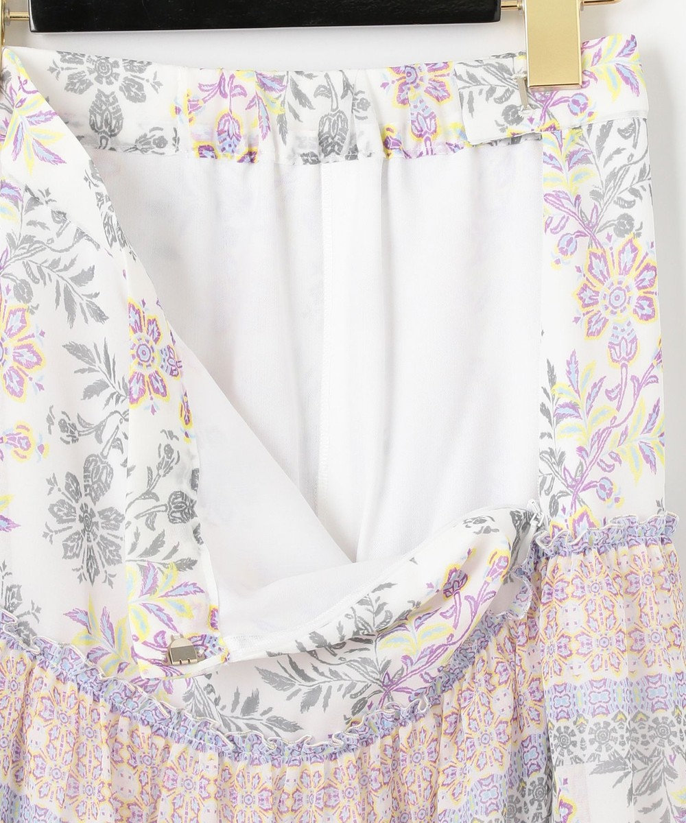 GRACE CONTINENTAL サラサシフォンロングスカート ホワイト