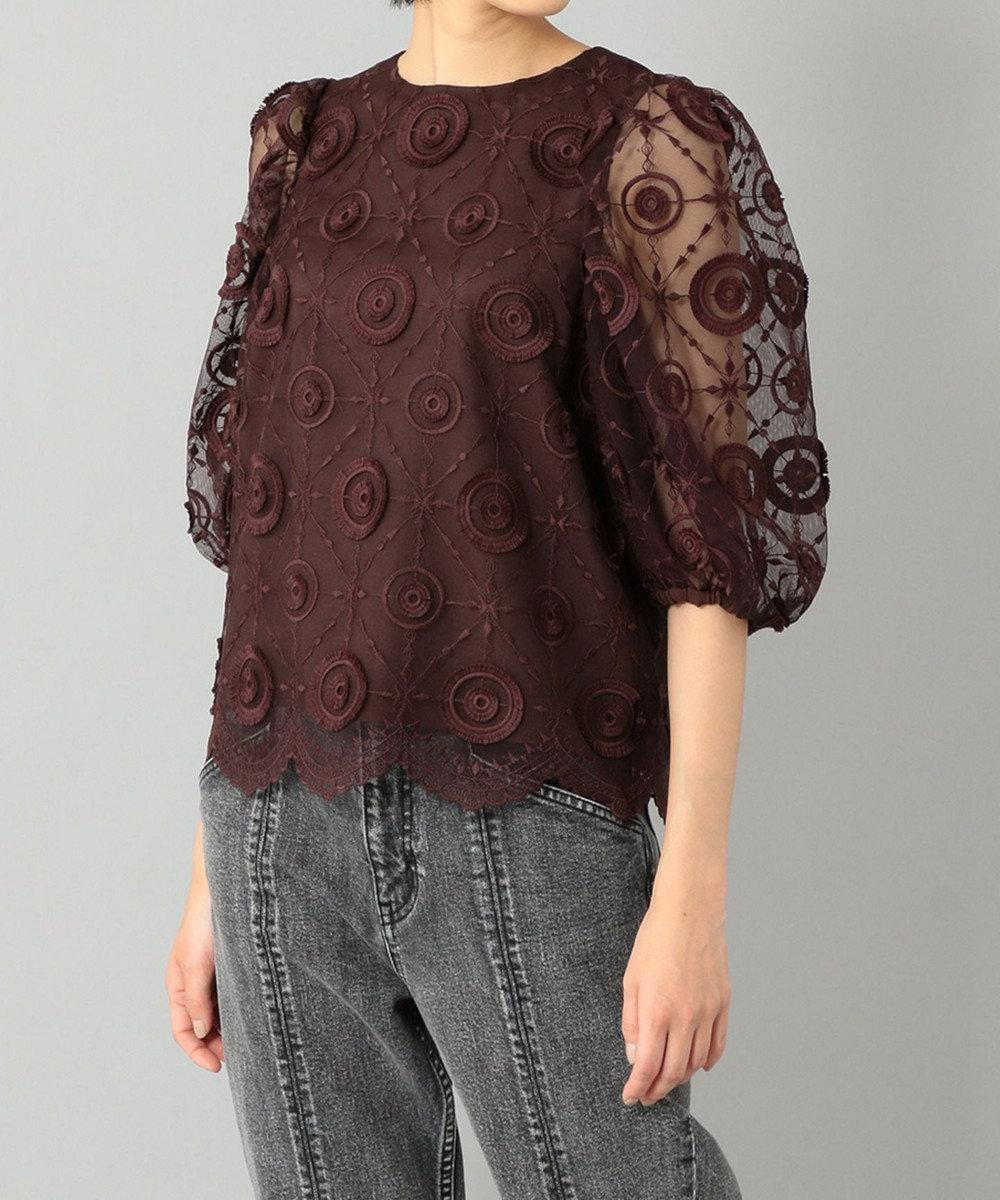 GRACE CONTINENTAL チュール刺繍トップ ボルドー