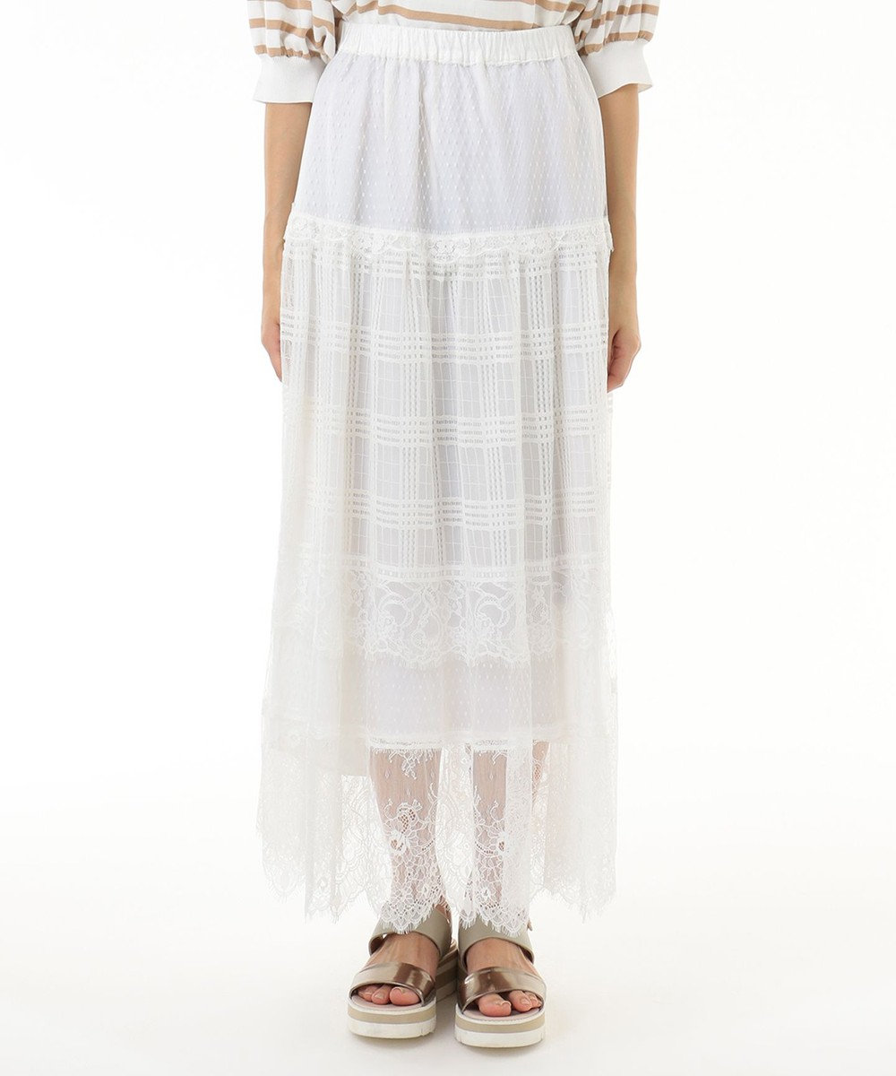 GRACE CONTINENTAL レース切替メッシュスカート ホワイト