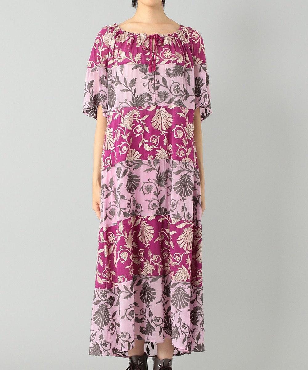 GRACE CONTINENTAL カラーブロック刺繍ワンピース ピンク