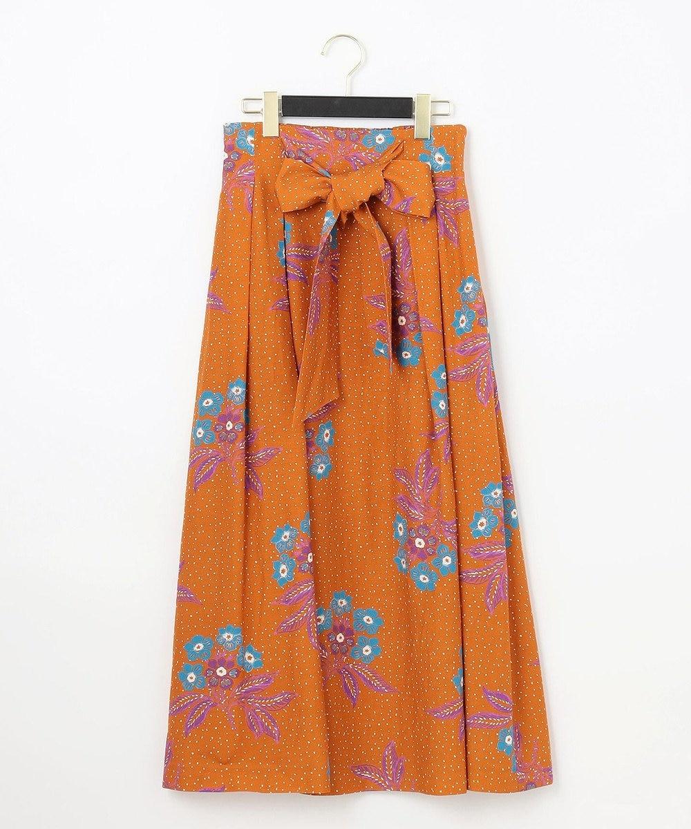 GRACE CONTINENTAL フラワードットプリントスカート オレンジ
