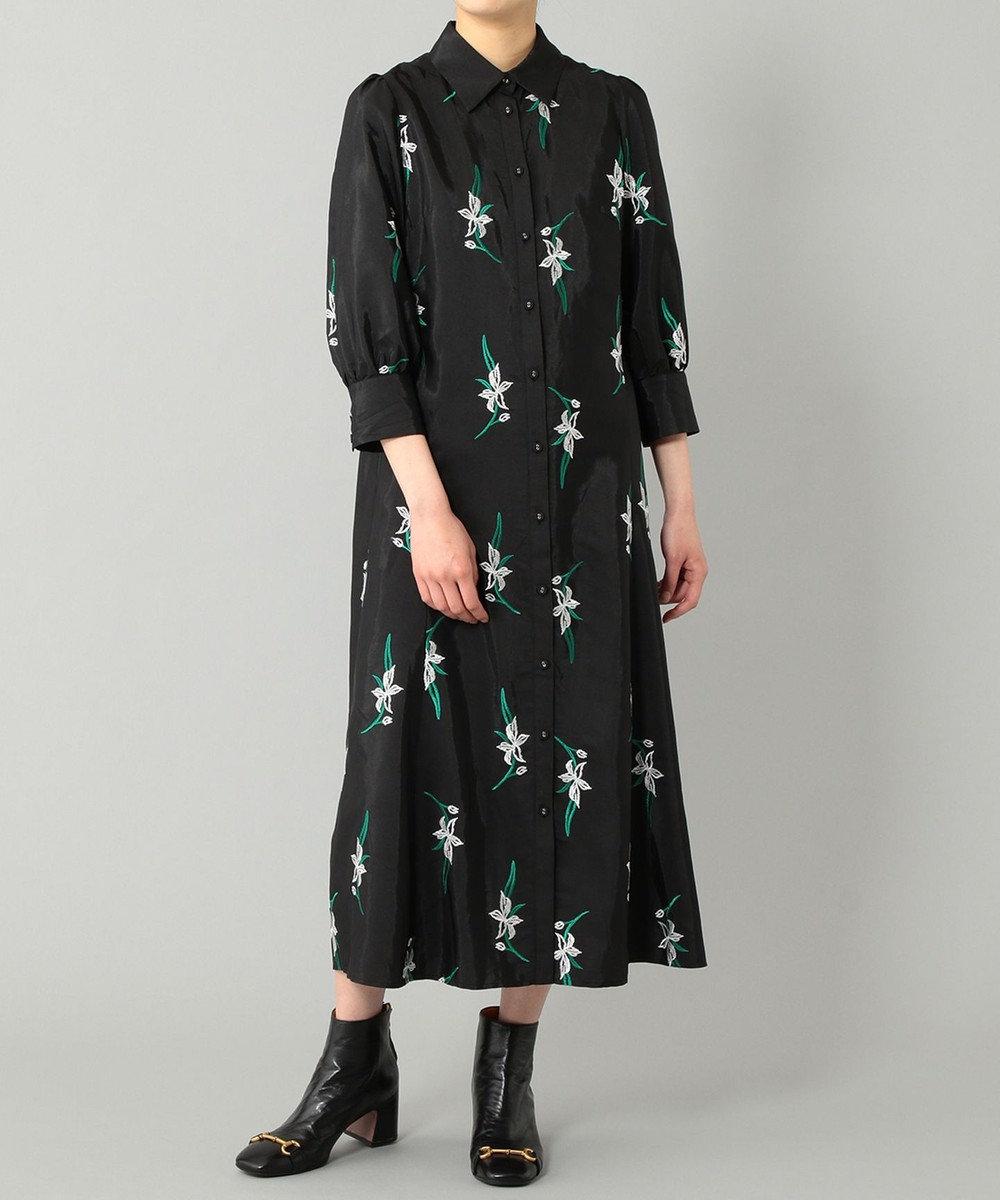 GRACE CONTINENTAL 刺繍フレアシャツワンピース ブラック