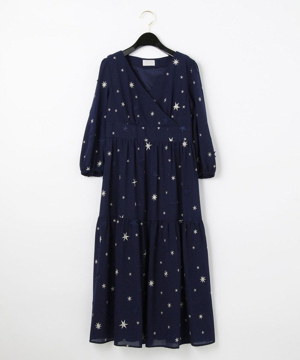 GRACE CONTINENTAL スター3D刺繍ドレス ネイビー