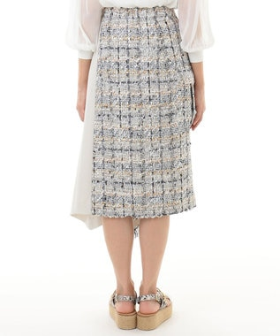 GRACE CONTINENTAL ツイード切替スカート ベージュ