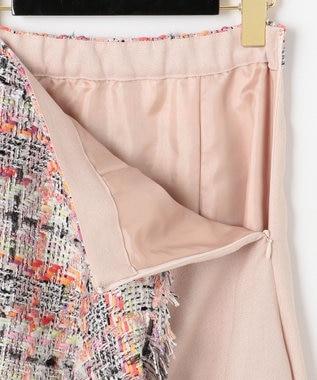 GRACE CONTINENTAL ツイード切替スカート ピンク