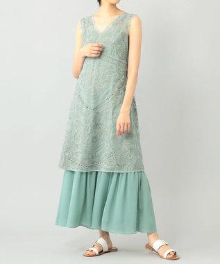 レイヤード刺繍ロングワンピース