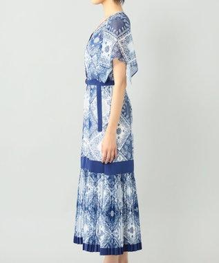 GRACE CONTINENTAL バンダナバイカラーワンピース ブルー