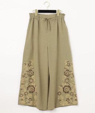 クロップドワイド刺繍パンツ