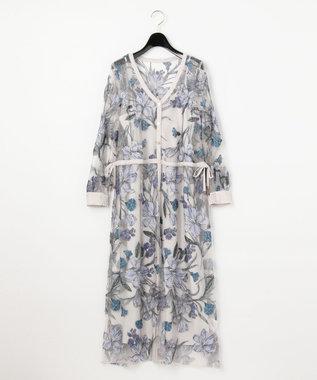 GRACE CONTINENTAL チュールフラワー刺繍ドレス グレー