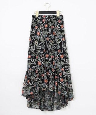 ボタニカルチュール刺繍スカート