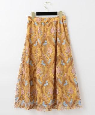 GRACE CONTINENTAL リーフフラワー刺繍スカート イエロー
