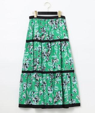 GRACE CONTINENTAL フラワープリントスカート グリーン