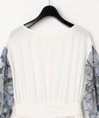 GRACE CONTINENTAL フラワー刺繍ティアードワンピース ホワイト